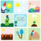 Cartões da coleção sobre o tempo de mola Fotografia de Stock