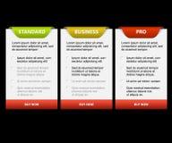 Cartões da comparação das versões do produto de vetor Fotografia de Stock