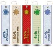 Cartões da gota da neve da venda do Natal do inverno Imagem de Stock