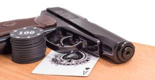Cartões da pistola e de jogo Imagens de Stock