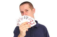 Cartões da terra arrendada do homem novo, foco em cartões foto de stock royalty free