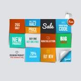 Cartões da venda da cor Foto de Stock