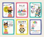 Cartões de aniversário ilustração do vetor