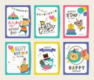 Cartões de aniversário ilustração royalty free