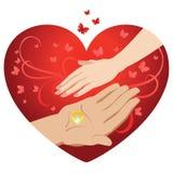 Cartões de casamento do molde, homem e mão fêmea em um fundo dos corações e Imagem de Stock