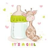 Cartões de chegada da festa do bebê ou do bebê - girafa bonito do bebê ilustração do vetor