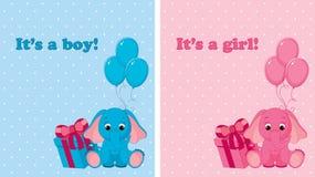 Cartões de chegada do bebê Fotos de Stock Royalty Free