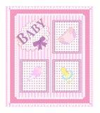 Cartões de chegada do bebê. menina   Fotografia de Stock