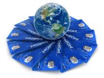 Cartões de crédito com globo (trajeto de grampeamento incluído) Imagens de Stock