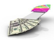 Cartões de crédito contra notas de banco Imagem de Stock