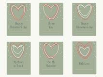 Cartões de cumprimentos do dia de Valentim com corações Imagens de Stock Royalty Free