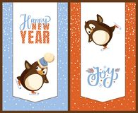 Cartões de Greetig do ano novo feliz, pinguins em patins ilustração stock