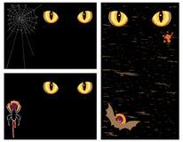 Cartões de Halloween com olhos maus - jogo de três Imagens de Stock Royalty Free