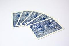 Cartões de jogo azuis do casino do pôquer simples Fotografia de Stock