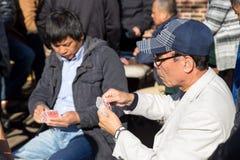 Cartões de jogo chineses dos homens em Columbus Park, NYC Fotografia de Stock