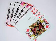 Cart?es de jogo com cart?o de cr?dito fotografia de stock royalty free