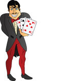 Cartões de jogo da terra arrendada do homem Fotos de Stock Royalty Free