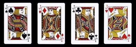 4 cartões de jogo de Jack em seguido - Fotos de Stock