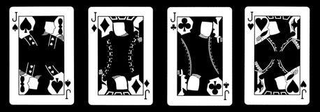 4 cartões de jogo de Jack em seguido - Imagem de Stock