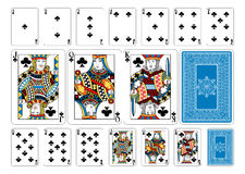 Cartões de jogo do clube do tamanho do pôquer mais o reverso Imagens de Stock Royalty Free