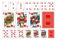 Cartões de jogo do coração do tamanho do pôquer mais o reverso Fotos de Stock