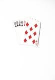 Cartões de jogo do grupo de símbolo das classificações da mão de pôquer no casino: casa completa no fundo branco, sumário da sort Fotos de Stock Royalty Free