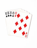 Cartões de jogo do grupo de símbolo das classificações da mão de pôquer no casino: casa completa no fundo branco, sumário da sort Imagem de Stock