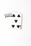Cartões de jogo do grupo de símbolo das classificações da mão de pôquer no casino: nivele no fundo branco, sumário da sorte Fotografia de Stock Royalty Free