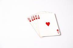 Cartões de jogo do grupo de símbolo das classificações da mão de pôquer no casino: Resplendor real no fundo branco, sumário da so Fotos de Stock