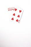 Cartões de jogo do grupo de símbolo das classificações da mão de pôquer no casino: resplendor reto no fundo branco, sumário da so Imagem de Stock