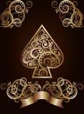 Cartões de jogo do póquer do ás da pá Imagens de Stock