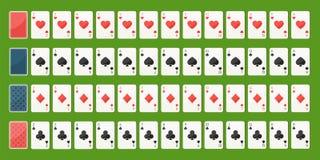 Cartões de jogo do póquer, plataforma cheia Imagens de Stock