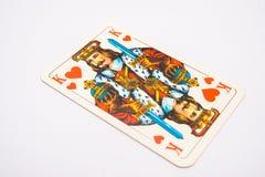 Cartões de jogo do pôquer com um fundo branco imagem de stock