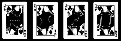 4 cartões de jogo do Queens em seguido - Foto de Stock Royalty Free
