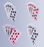 Cartões de jogo do resplendor real do pôquer Fotografia de Stock