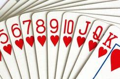 Cartões de jogo dos corações Imagens de Stock