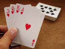 Cartões de jogo e jogo, cartão 05 do pôquer foto de stock