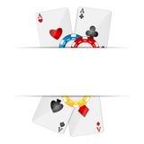 Cartões de jogo e microplaquetas de pôquer Foto de Stock Royalty Free