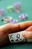 Cartões de jogo nas mãos Fotografia de Stock