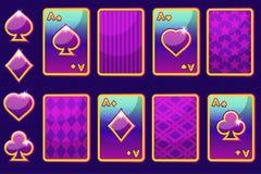 Cartões de jogo de pôquer do roxo quatro dos desenhos animados e parte traseira de cartão Elementos e ícones do GUI Ilustração Stock