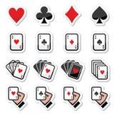 Cartões de jogo, pôquer, ícones de jogo ajustados Imagens de Stock Royalty Free