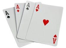 Cartões de jogo quatro áss isolados no branco Fotografia de Stock Royalty Free
