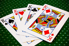 Cartões de jogo - quatro reis Imagens de Stock