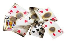 Cartões de jogo queimados fotos de stock royalty free