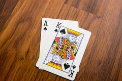 Cartões de jogo - vinte e um Fotografia de Stock