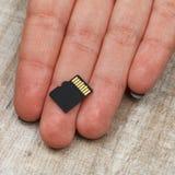 Cartões de memória na palma de uma moça imagens de stock