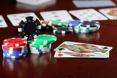 Cartões de microplaquetas do pôquer Foto de Stock