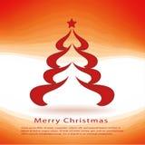 Cartões de Natal com a árvore de Natal vermelha Ilustração Royalty Free