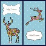 Cartões de Natal com cervos Fotografia de Stock