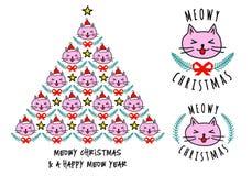 Cartões de Natal com gatos bonitos, vetor Foto de Stock Royalty Free